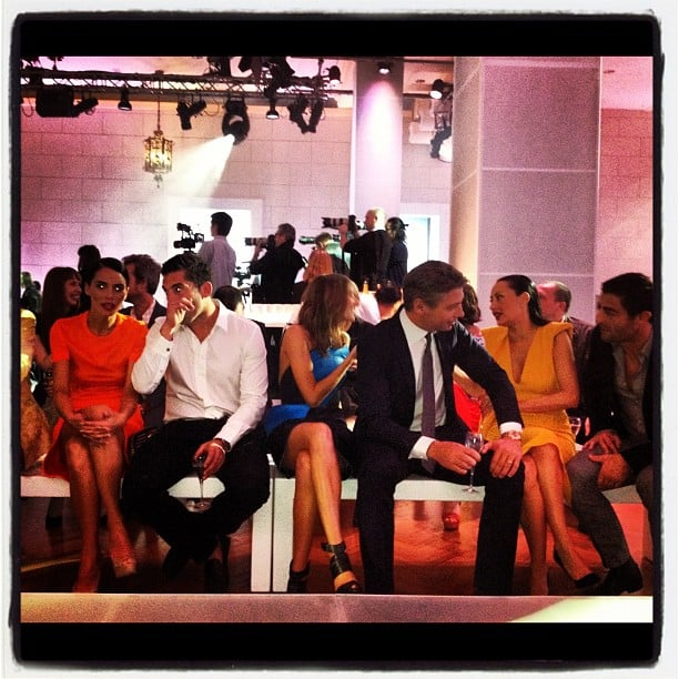 The front row at David Jones' fashion launch, starring Jodi Gordon, Braith Anasta, Kate Waterhouse, Luke Ricketson, Terry Biviano and Anthony Minichiello. Source: Instagram user melissahoyer