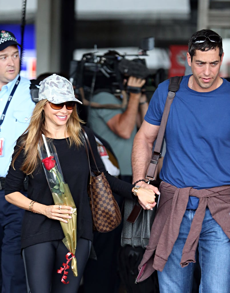 Sofia Vergara received a rose upon her Sydney arrival (with fiancé Nick Loeb) on Feb. 18.