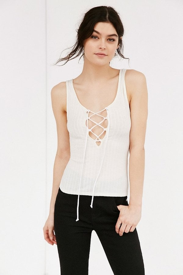 Project Social T Lace-Up Ribbed Tank Top ($34)