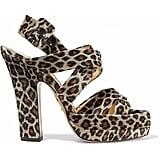 Charlotte Olympia Leopard-Print Velvet Platform Sandals