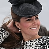 Kate Middleton smiled while observing the ship she would be christening.