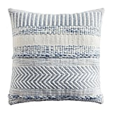 "Farmhouse Stripe 18"" Square Mineral Blue Pillow"
