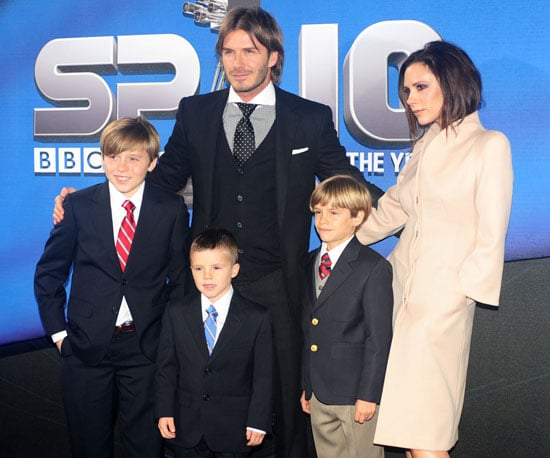 Slide Picture of David Beckham and Family at BBC Sports Awards in England