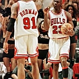 Michael Jordan and Dennis Rodman During Game 7 of the NBA Finals in 1998