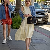 Emma Roberts Wearing Nine West Yellow Sandals