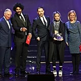 Tom then joined Prince Charles on stage during the 2016 awards, along with Breakthrough Award winner Laine Esperanzate and boxer David Haye.