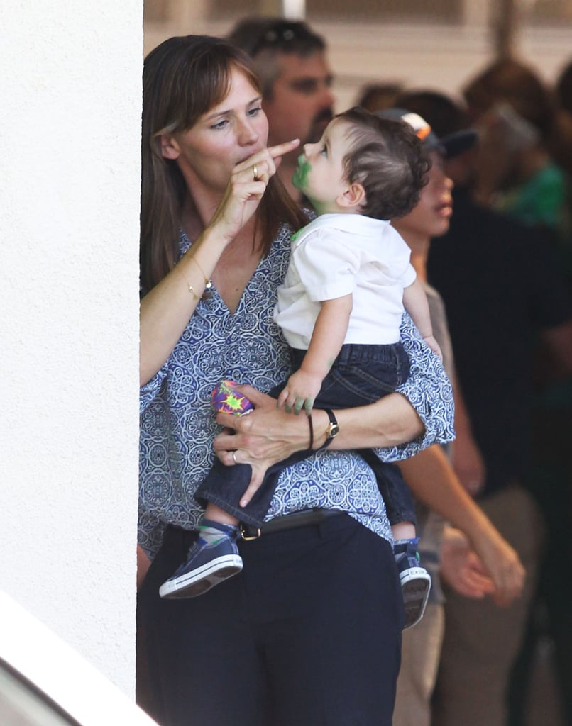 Jennifer Garner held a baby on the set of her new film, Alexander and the Terrible, Horrible, No Good, Very Bad Day.