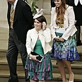 Andrew, Eugenie, and Beatrice were all smiles as they left St. George's Chapel after Peter and Autumn Phillips's wedding in 2008.