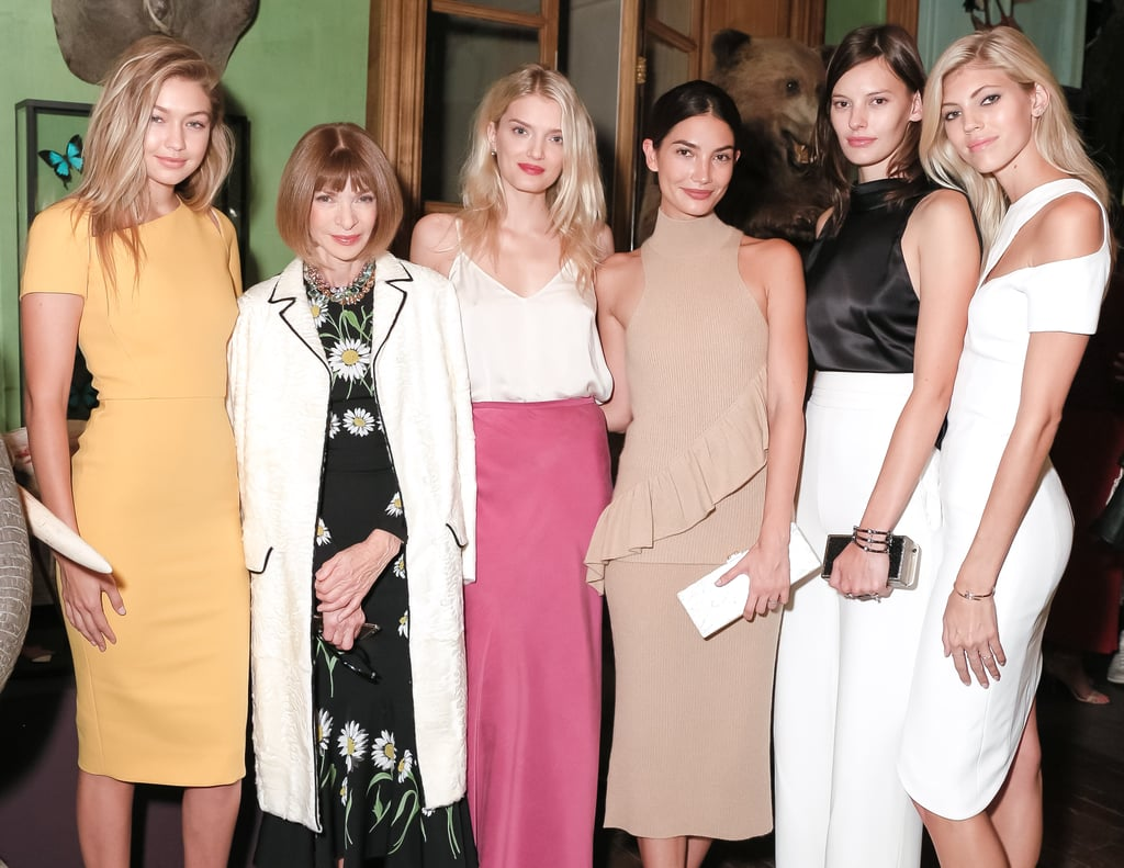Gigi posed alongside Anna Wintour and the rest of her model crew, including Lily Aldridge, Lily Donaldson, Amanda Murphy, and Devon Windsor at the party.