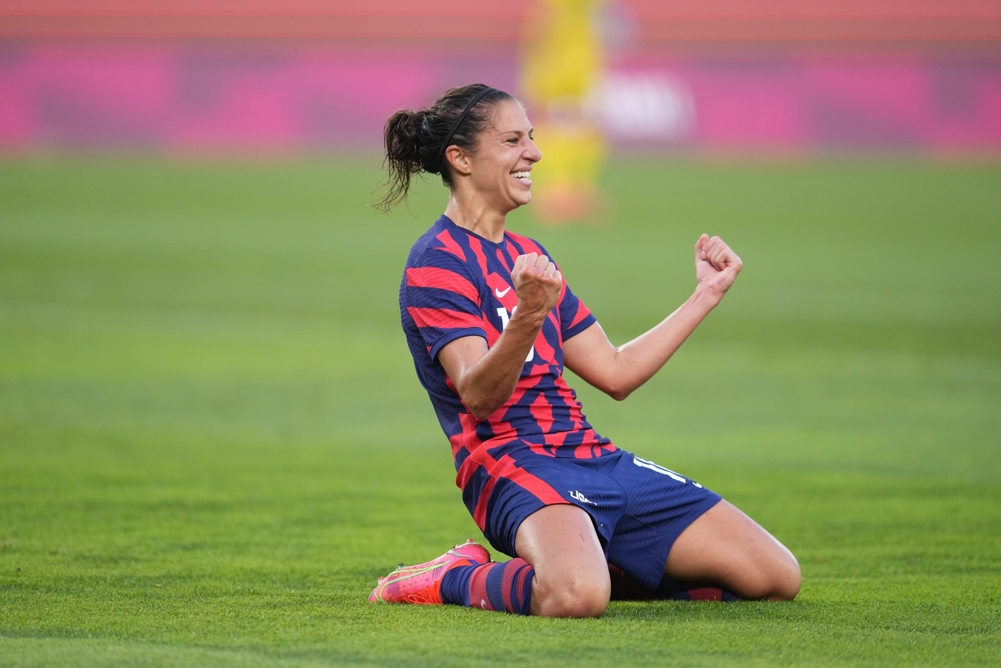 KASHIMA, JAPAN - AUGUST 5: Carli Lloyd #10 of the United States celebrates scoring during a game between Australia and USWNT at Kashima Soccer Stadium on August 5, 2021 in Kashima, Japan. (Photo by Brad Smith/ISI Photos/Getty Images)