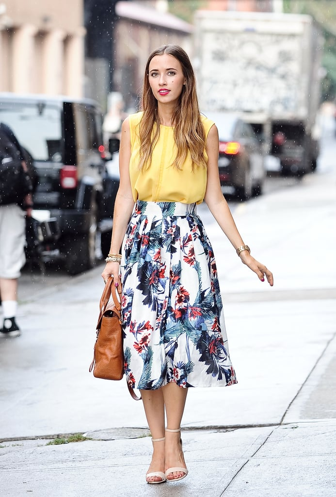 Florals will brighten up your work space on a pretty full skirt.