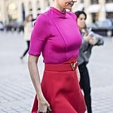 Miranda Kerr wearing Louis Vuitton at Paris Fashion Week