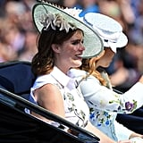 Eugenie and Beatrice were all smiles while travelling in a horse-drawn carriage during Trooping the Colour in 2017.