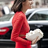 Leandra Medine adds the perfect pop to her all-red ensemble.