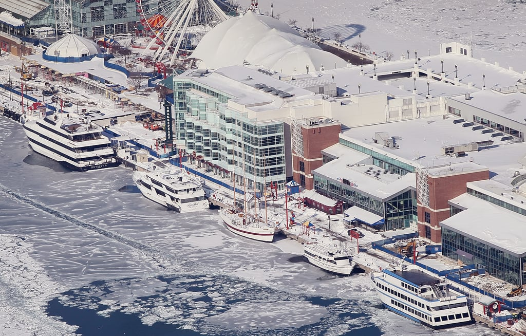 The boats along Navy Pier were surrounded by ice.