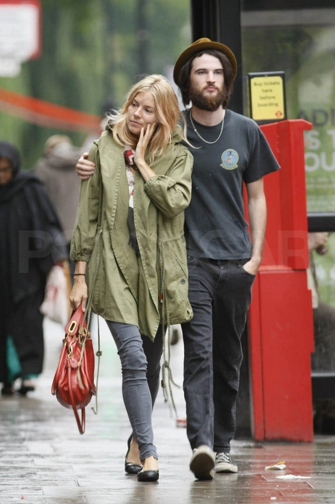 Sienna Miller and Tom Sturridge stopped for lunch together yesterday at London's Mestizo Mexican restaurant then continued on with a loving stroll about town. Tom's beard is reportedly for On the Road reshoots, and his girlfriend, Sienna, doesn't seem to mind a lot of scruff. Tom costars alongside Kristen Stewart, Amy Adams, and Garrett Hedlund in the big-screen adaption of Jack Kerouac's famous novel, though the first On the Road stills show a very clean-cut Kristen and Garrett instead of Tom's hairy look. Sienna recently wrapped up her stint in the West End performing Flare Path on stage, and she and Tom celebrated their time off with a vacation in Ibiza.