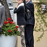 Selena Gomez wore a pair of floral-printed pants to lunch with her mom in LA.