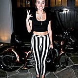 Beetlejuice, Beetlejuice, Beetlejuice. The star wore black and white striped pants and a black crop top while leaving a home in the Hollywood Hills in February 2013.