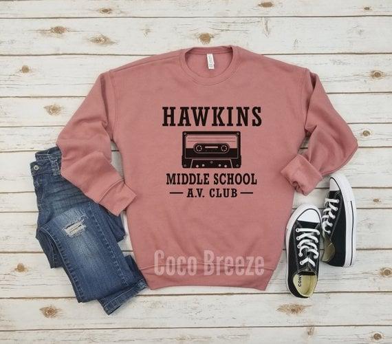 Hawkins Middle School AV Club Fleece Sweater