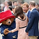 Prince Harry cracked up when Kate danced with Paddington Bear at London's Paddington Station in October 2017.