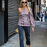 In the Right Shades of Plaid With Jeans and Closed-Toe Shoes