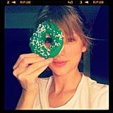 Taylor Swift spent St. Patrick's Day enjoying a festive March doughnut in 2012.  Source: Instagram user taylorswift