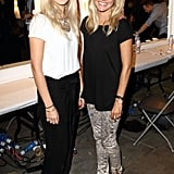 Designer sisters, Savannah and Sienna Miller pose pretty backstage. It's basics for both, but so effortlessly cool.