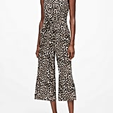 Animal Print Wide-Leg Cropped Jumpsuit