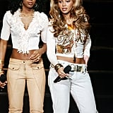 "Kelly and Bey were visions in white at Good Morning America's ""Women Rule"" Concert Tour in 2004."