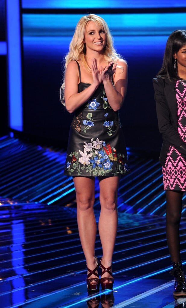 Britney Spears hit the stage in a black floral minidress.