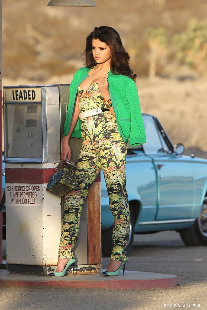 Selena Gomez modeled at a gas station.