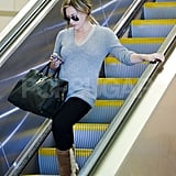 Hilary Duff checked her phone at LAX.