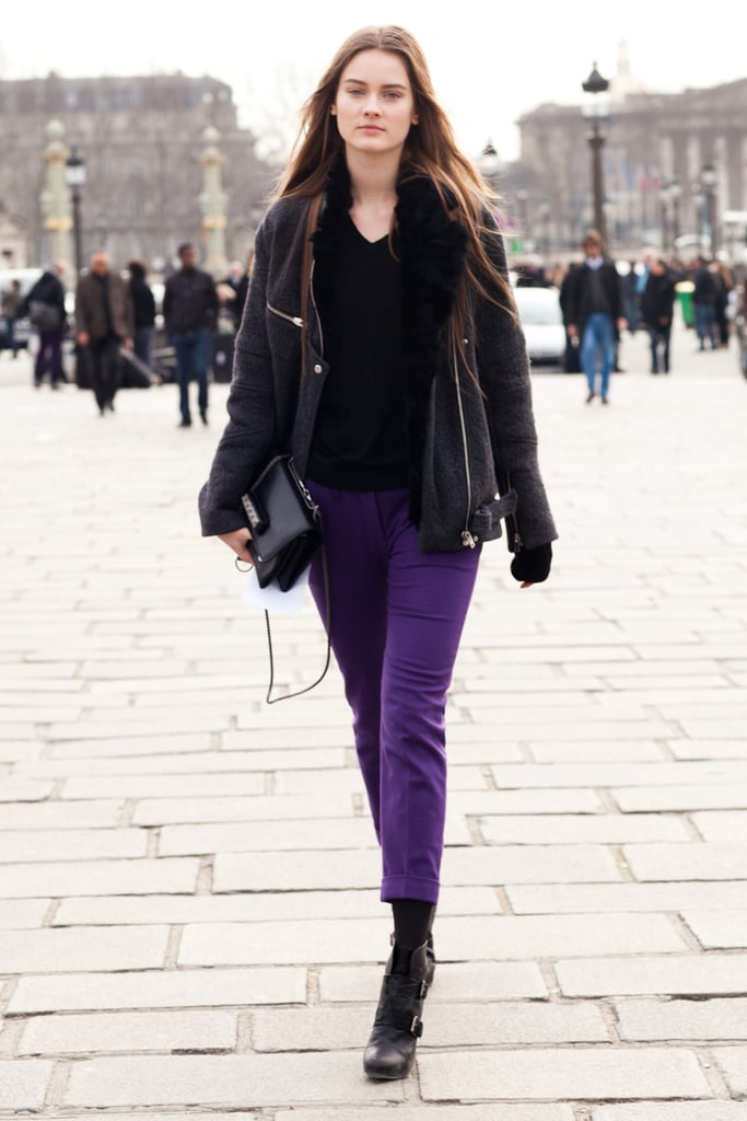 It was a simple enough mix, but bright purple trousers had an eye-catching effect. Source: Le 21ème | Adam Katz Sinding