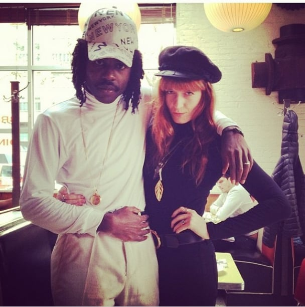 Florence Welch channeled beatnik style in all black and a newsboy cap. Source: Instagram user ouhoh