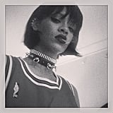 Rihanna donned a dog collar and showed off her new haircut. Source: Instagram user badgalriri