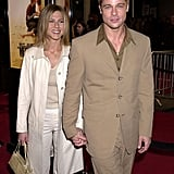 He and Jennifer Aniston coordinated their neutral looks for the LA premiere of The Mexican in February 2001.