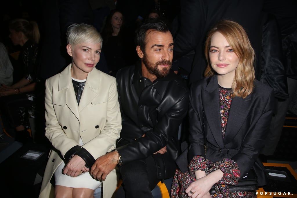 """Justin Theroux officially returned to the spotlight on Tuesday when he stepped out at the Louis Vuitton show during Paris Fashion Week. Dressed in all black, the actor flashed his signature smolder as he posed for photos outside, then took his seat in the front row between Michelle Williams and pal Emma Stone. The actor's fashion-forward outing comes nearly a month after he and Jennifer Aniston announced their separation, though he was spotted out and about in NYC just last week. Justin and Jennifer have yet to personally speak out about their split, but in their joint separation statement, the couple said their breakup """"was mutual and lovingly made at the end of last year."""" According to ET, distance and their different lifestyles could have also played a factor, but they still seem to be on good terms as they reportedly """"talk all the time."""" Talk about friendly exes!      Related:                                                                                                           What Went Wrong? Everything We Know So Far About Jennifer Aniston and Justin Theroux's Split"""