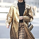 Giovanna Battaglia made her mark in gilded outerwear.