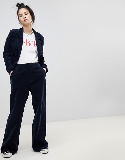 Pull&Bear Double Breasted Cord Blazer & Flares Two-Piece