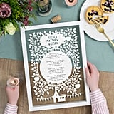 The Portland Co Personalised Christening Reading Poem Papercut