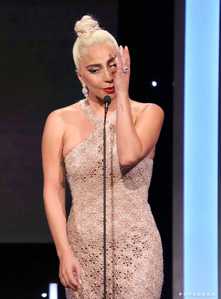 "We've been obsessed with Lady Gaga and Bradley Cooper's friendship ever since we saw A Star Is Born, and we're glad to see they're still close. On Thursday, Bradley was honoured at the American Cinematheque Gala for his two-decade career, and Gaga got emotional while paying tribute to him on stage with their costar Sam Elliott. ""I felt comfortable with Bradley — not just because he's a hunk like Sam — but because Bradley is such a kind and loving and real person,"" Gaga said as she fought back tears. ""I'm so honoured to have you as my friend.""  Gaga also revealed that Bradley helped her open up and find herself again through her role. ""I ran from Stefani for a long time. I put on a superhero cape and called myself Lady Gaga,"" she said. ""You challenged me to deep dive into a place where I had to see her again, be Stefani again . . . I'm so grateful to you, not just for making me a better actress, but I've been able to call on you as a friend."" A Star Is Born is the third remake of the 1937 original with Janet Gaynor and Fredric March and follows the life of a jaded musician named Jackson Maine (Bradley), who falls in love with a rising star named Ally (Gaga). The film has major Oscar buzz, and if you haven't seen it yet, what are you waiting for?      Related:                                                                                                           Lady Gaga — Queen of Our Hearts — Wears a Sparkly, Sheer Gown on the Red Carpet"