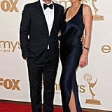 Winner for best supporting actor in a comedy Ty Burrell posed next to his wife, Holly.