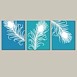 Modern Peacock Feather Trio