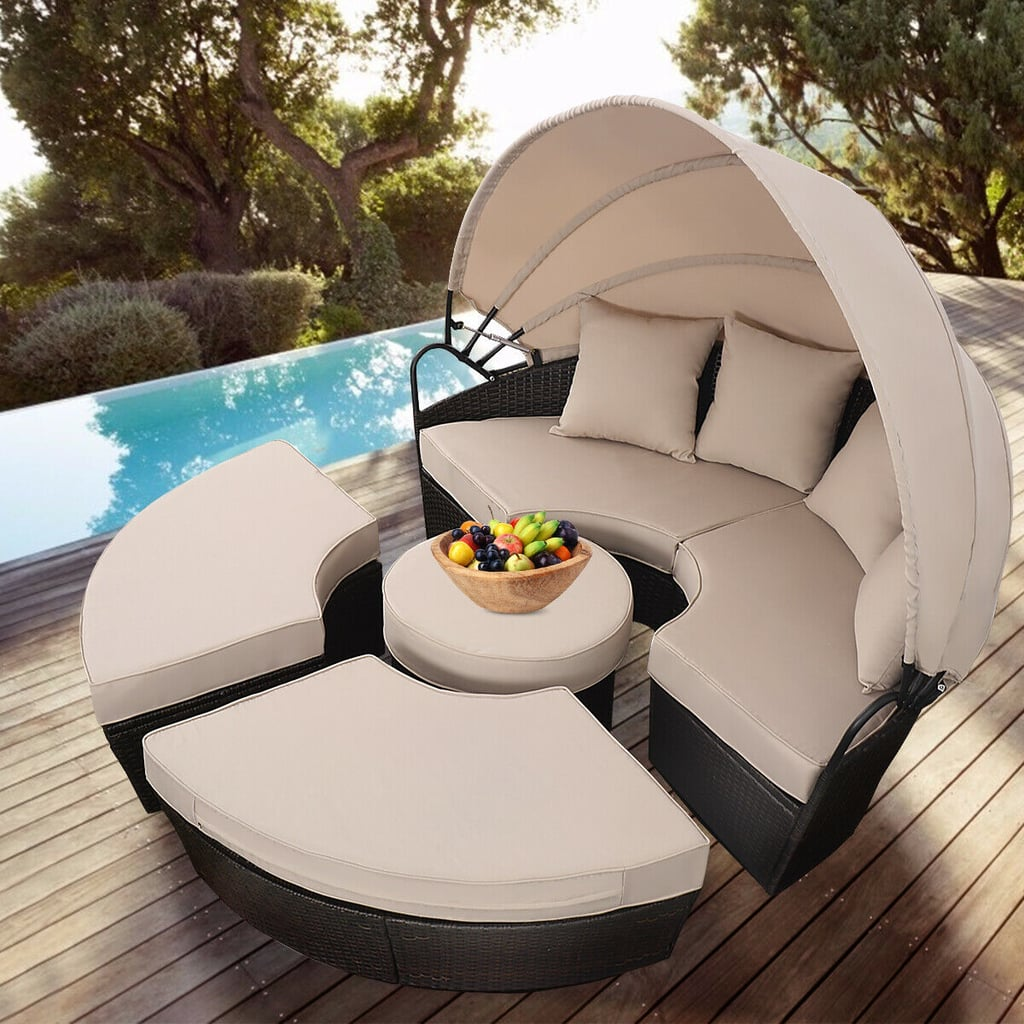 Costway Outdoor Rattan Patio Sofa Furniture Round Retractable Canopy Daybed