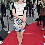 Isla Fisher wore a patterned frock.