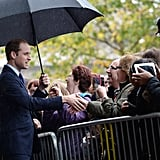 Prince William met with visitors outside the Birmingham Library.