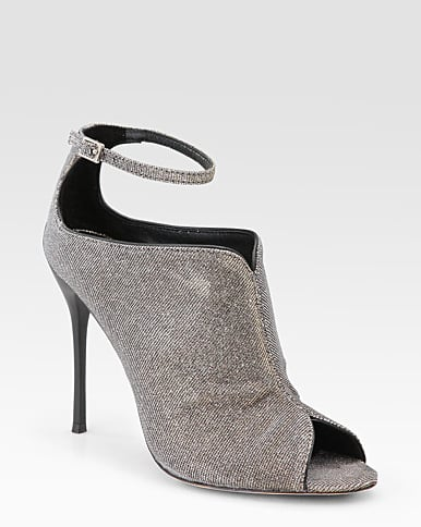 B Brian Atwood Liese Metallic Peep Toe Ankle Boots ($350)