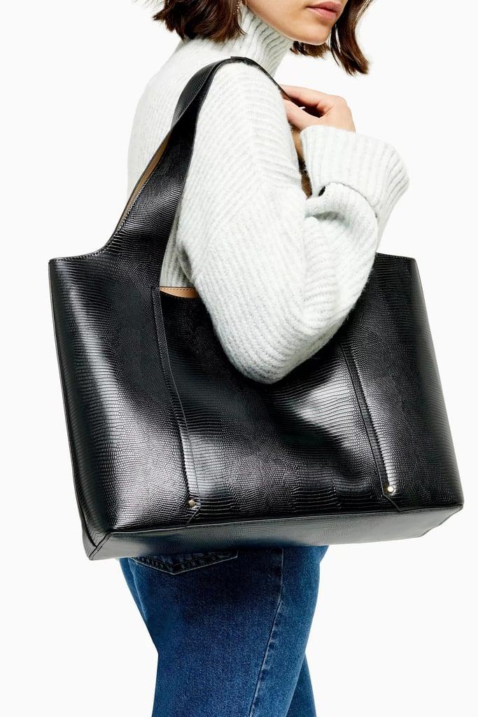 Topshop Taylor Black Slouchy Tote Bag