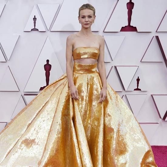 Carey Mulligan's Gold Valentino Skirt at the 2021 Oscars