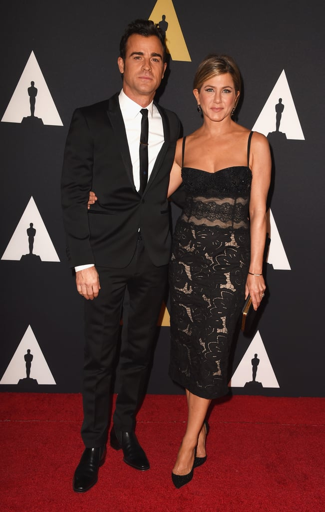 Jennifer Aniston and Justin Theroux got a head start on award season on Saturday night when they attended the 2014 Governors Awards in LA. The award show is Hollywood's day to kick off the Oscar season and is hosted by the Academy of Motion Picture Arts and Sciences. The pair was on hand to honor this year's winners of the Academy Honorary Awards, which include French novelist and screenwriter Jean-Claude Carrière, anime director Hayao Miyazaki, and actress Maureen O'Hara. The academy also celebrated Harry Belafonte, the winner of the Jean Hersholt Humanitarian Award. Keep reading to see more snaps of Jennifer and Justin at the Governors Awards!